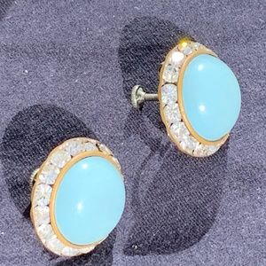 Tiffany Blue Button Dome Shaped Screw Back Earring